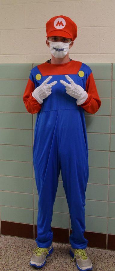 Sophomore Maxton Taylor gets in the Halloween spirit as Luigi.