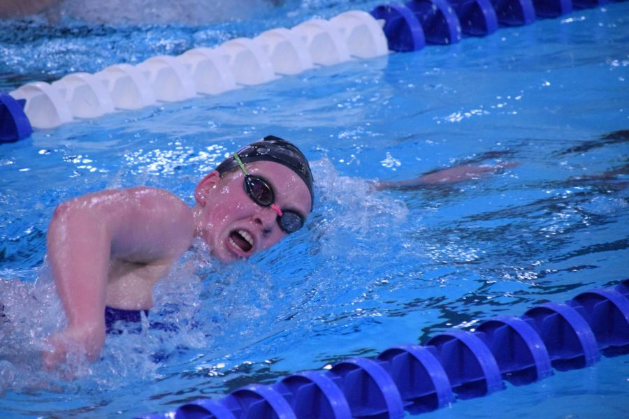 Sophomore Ally Donagan takes a breath during the 500 freestyle.