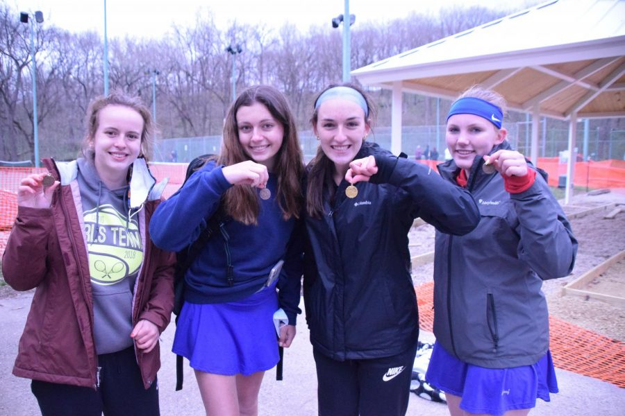 Craigs State qualifiers in the 2021 alternate fall season for girls tennis, from left to right: Lucia Hyzer (singles), Karyssa Norland (doubles), Allison Grund (singles and sectional champion), and Addison Kooyman (doubles).